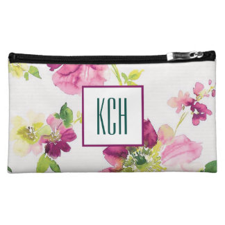 Pink Watercolor Floral Monogram Cosmetic Bag