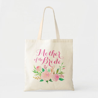 "Pink Watercolor Floral ""Mother of the Bride"" Tote Bag"