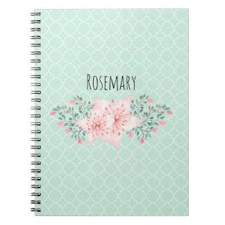 Pink Watercolor Floral on Aqua Quatrefoil Notebook