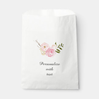 Pink Watercolor Floral Personalized Favour Bags