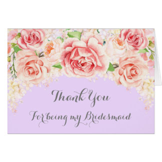 Pink Watercolor Floral Purple Thank You Bridesmaid Card