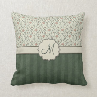 Pink Watercolor Floral Vines, Stripes and Monogram Cushion