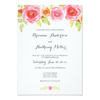 Pink Watercolor Floral Wedding Invite