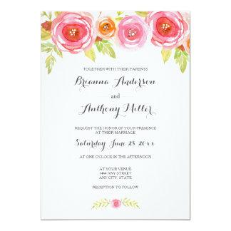Pink Watercolor Floral Wedding Invite 3605