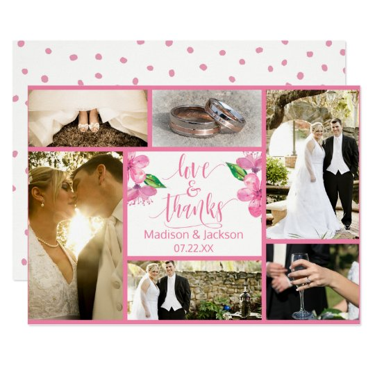 Pink Watercolor Floral Wedding Thank You Photo Card