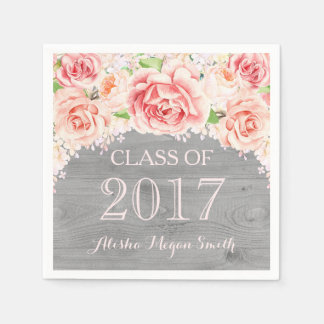 Pink Watercolor Floral Wood 2017 Graduation Paper Napkin