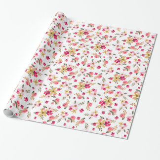 Pink Watercolor Florals Gift Wrap Paper