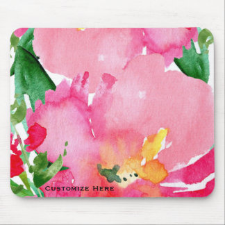 Pink Watercolor Flower Floral Summer Chic Custom Mouse Mat