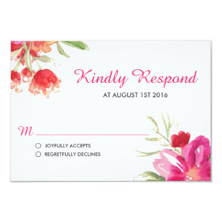 Pink Watercolor Flower Posy RSVP Card 9 Cm X 13 Cm Invitation Card