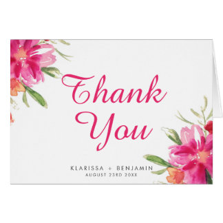 Pink Watercolor Flower Posy Thank You Card I