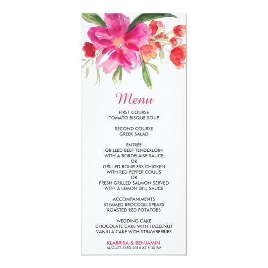 Pink Watercolor Flower Posy Wedding Menu Card