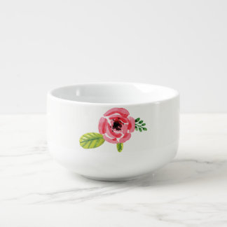 Pink Watercolor Flower | Soup Bowl