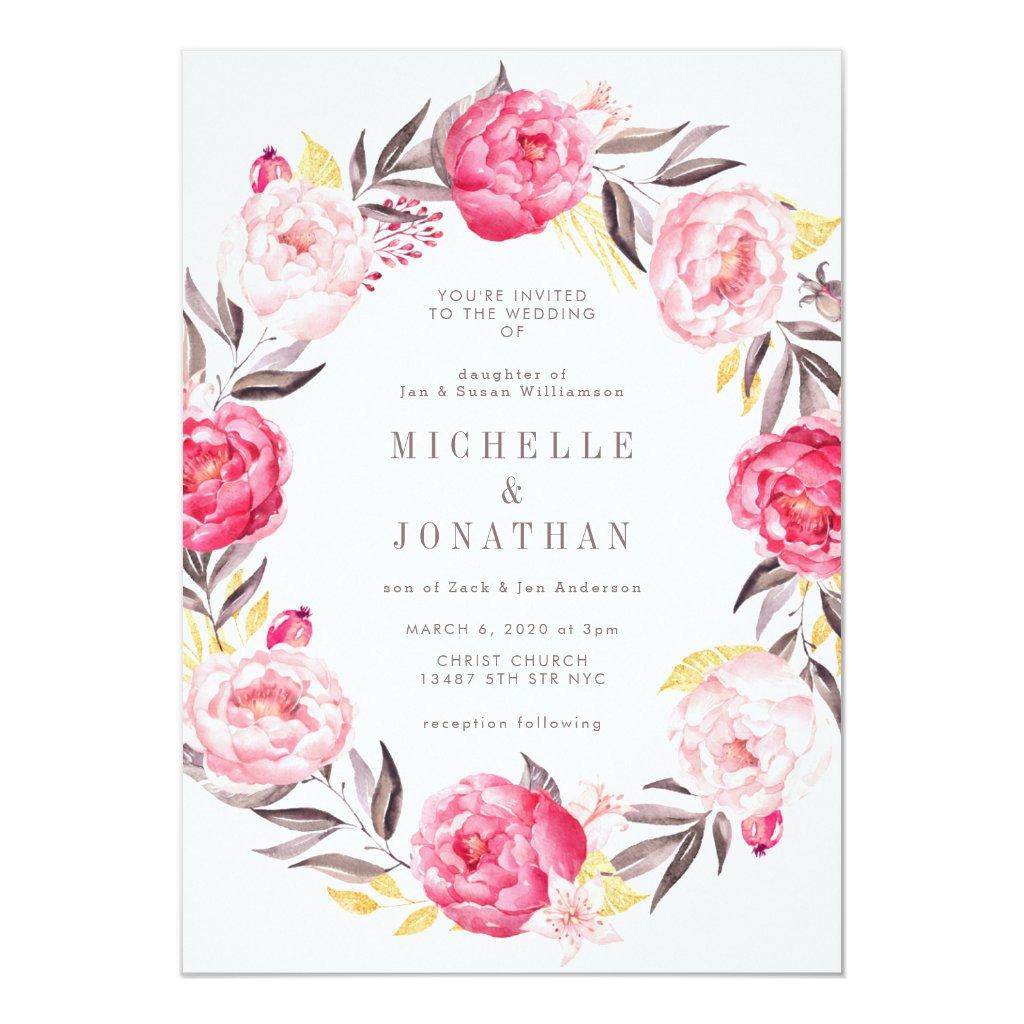 Pink Watercolor Flower Wreath Wedding Invitation