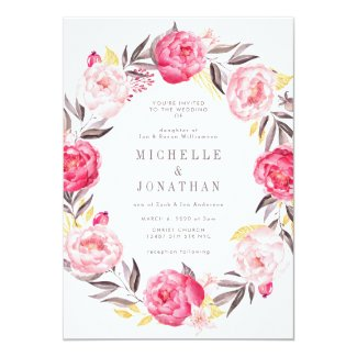 Pink Watercolor Flower Wreath Wedding Invitation