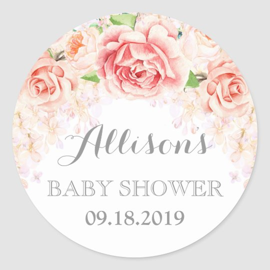 Pink Watercolor Flowers Baby Shower Favour Classic Round