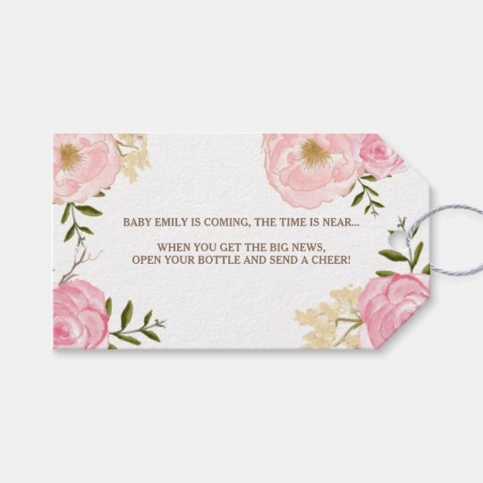 Pink watercolor flowers baby shower gift tag zazzle pink watercolor flowers baby shower gift tag negle Choice Image