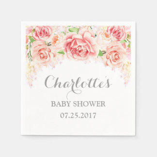 Pink Watercolor Flowers Baby Shower Paper Napkins