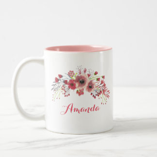 Pink Watercolor Flowers Bouquet Two-Tone Coffee Mug