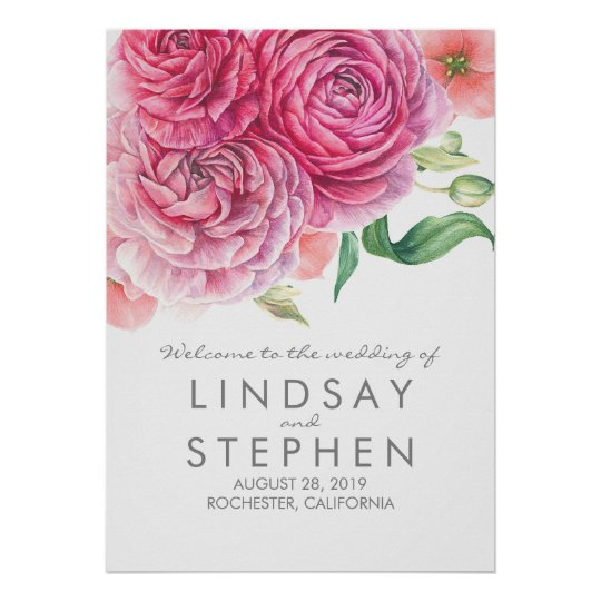 Pink Watercolor Flowers Chic Wedding Welcome Sign Poster