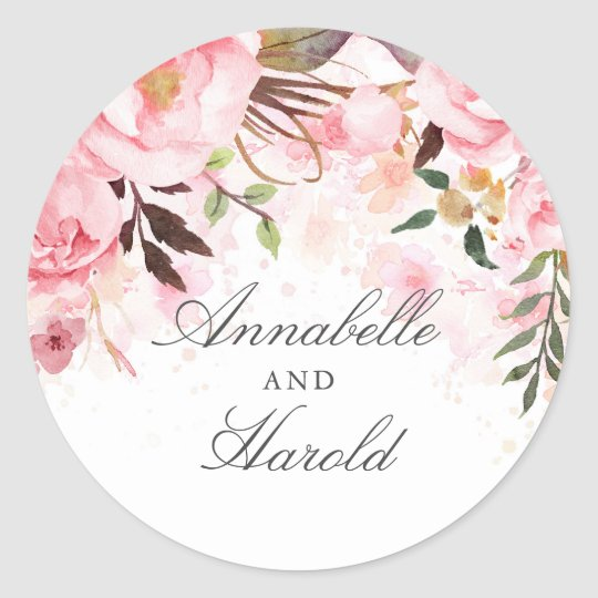 Pink Watercolor Flowers Classic Round Sticker