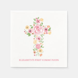 Pink Watercolor Flowers Cross First Communion Disposable Serviette