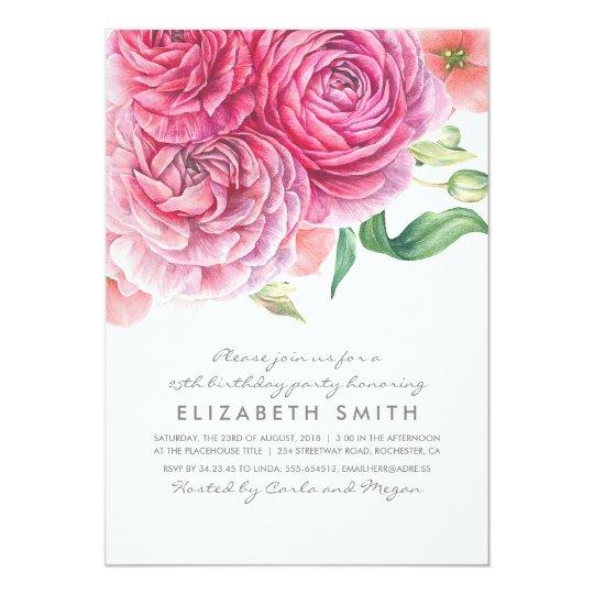 Pink Watercolor Flowers Elegant Birthday Party Card