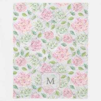Pink Watercolor Flowers on Faux Marble Look Fleece Blanket