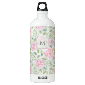 Pink Watercolor Flowers on Faux Marble Look SIGG Traveller 1.0L Water Bottle