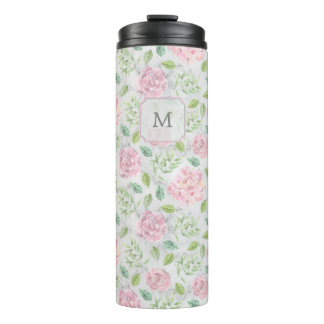 Pink Watercolor Flowers on Faux Marble Look Thermal Tumbler