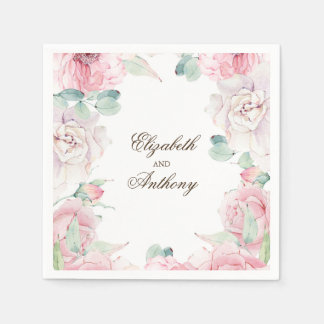 Pink Watercolor Flowers Paper Napkins