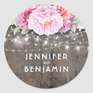 Pink Watercolor Flowers Rustic Wood Lights Classic Round Sticker