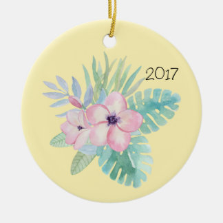 Pink Watercolor Flowers w/Leaves Christmas Ornament