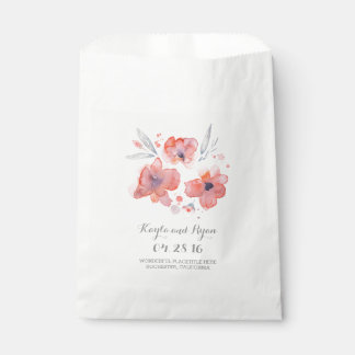 Pink Watercolor Flowers Wedding Favour Bags