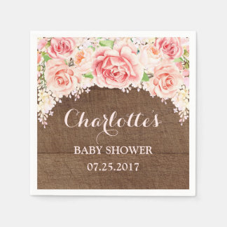 Pink Watercolor Flowers Wood Baby Shower Disposable Serviette