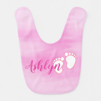 Pink Watercolor Footprint Little Baby Feet Name Bib