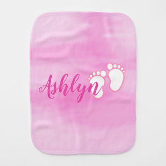 Pink Watercolor Footprint Little Baby Feet Name Burp Cloth