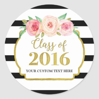 Pink Watercolor Gold Black Stripes Graduation 2016 Round Sticker