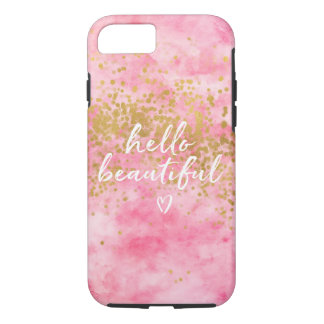 Pink Watercolor Gold Confetti Hello Beautiful iPhone 8/7 Case