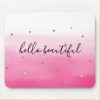 Pink Watercolor Gold Confetti Ombre Beautiful Mouse Mat