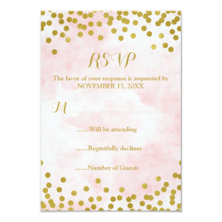 Pink Watercolor Gold Confetti Wedding RSVP Card