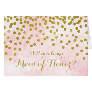 Pink Watercolor Gold Dots Maid of Honour Invite
