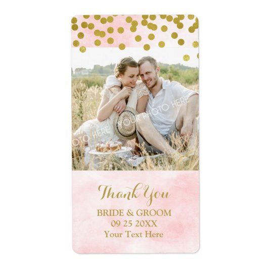 Pink Watercolor Gold Dots Photo Wedding Label Shipping