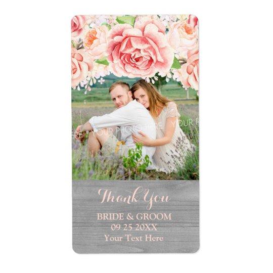 Pink Watercolor Grey Wood Photo Wedding Label