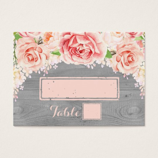 Pink Watercolor Grey Wood Place Setting Cards