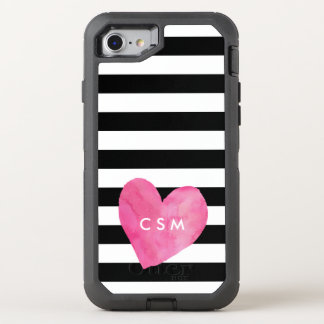 Pink Watercolor Heart   Striped OtterBox Defender iPhone 7 Case