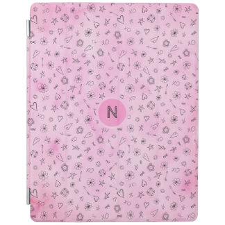 Pink watercolor Hearts and Stars personalized iPad Cover