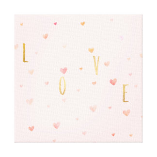 Pink Watercolor Hearts Gold Love Canvas Print