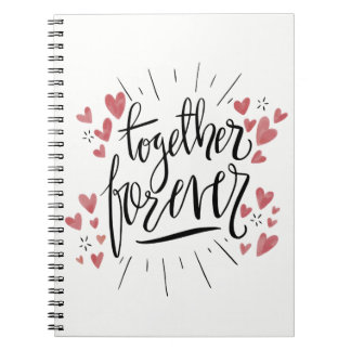 Pink Watercolor Hearts Together Forever Love Spiral Notebook