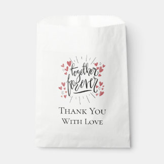 """Pink Watercolor Hearts """"Together Forever"""" Wedding Favour Bags"""