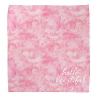 Pink Watercolor Hello Beautiful Heart Bandana